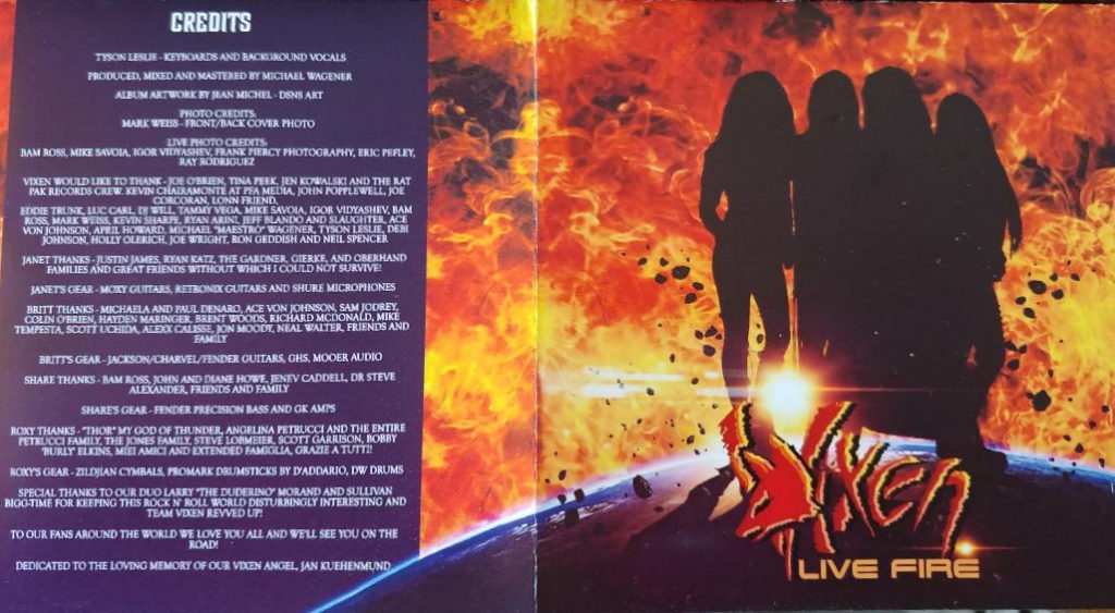 Liner Notes from Vixen's Live Fire CD